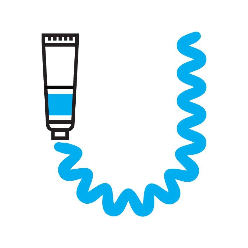 Usdan Art Logo - A blue paintube shaped like a U.