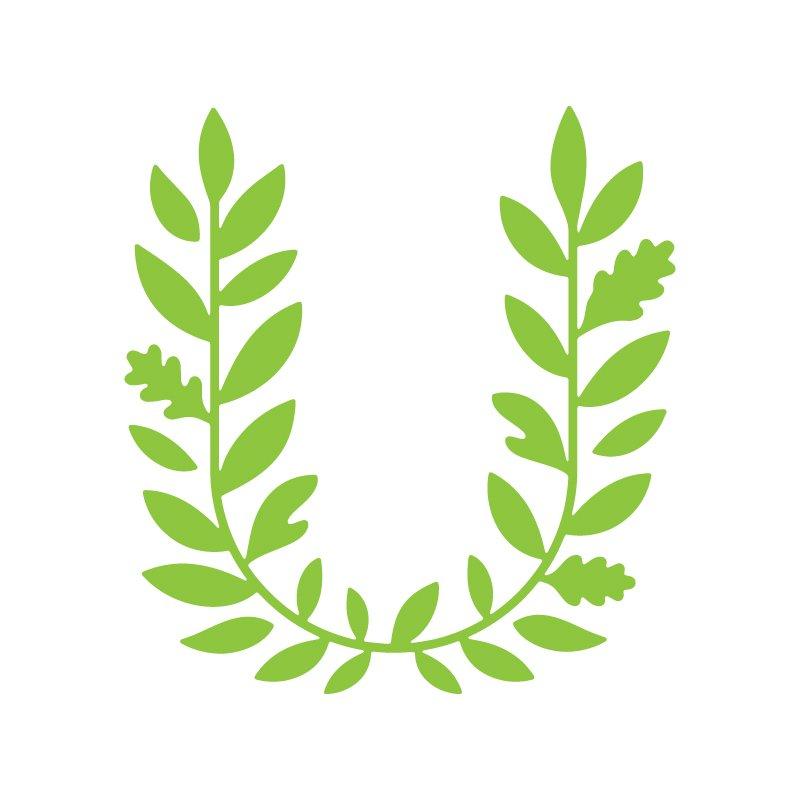 Usdan Nature Logo - A green laurel shaped like a U.