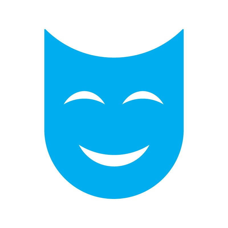 Usdan Theater Logo - A blue, smiling theater mask shaped like a U.