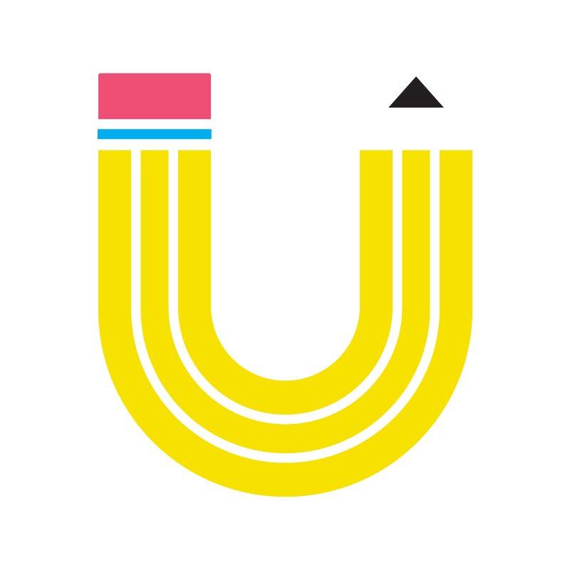 Usdan Writing Logo - A pencil shaped like a U.